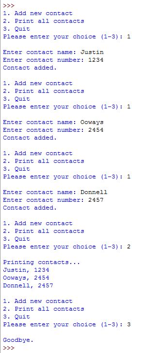 python contact output