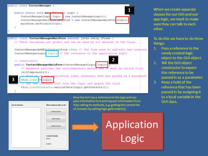 Passing a handle to the logic to the GUI